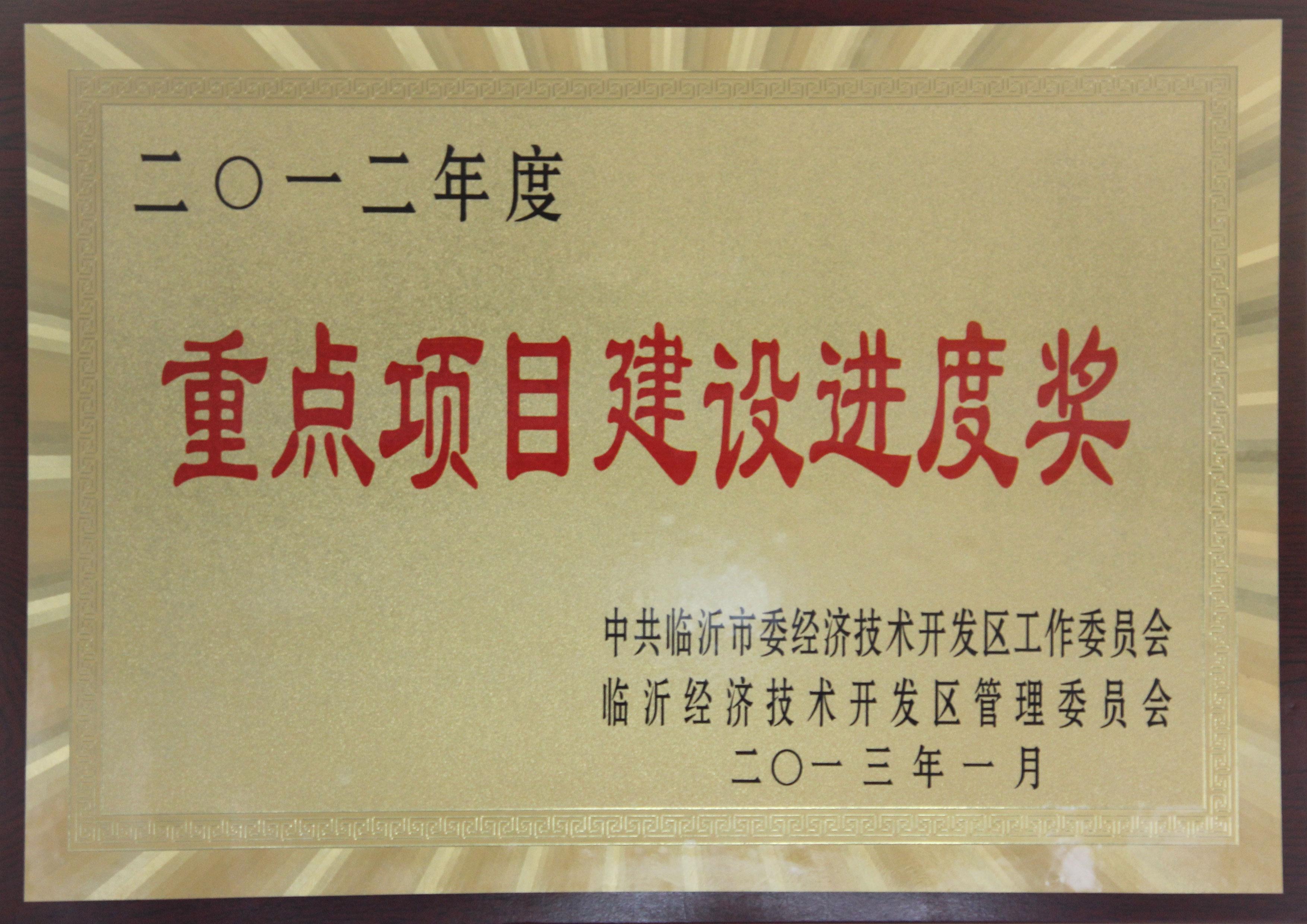 主题:2012年度重点项目建设进度奖 日期:2013-07-05